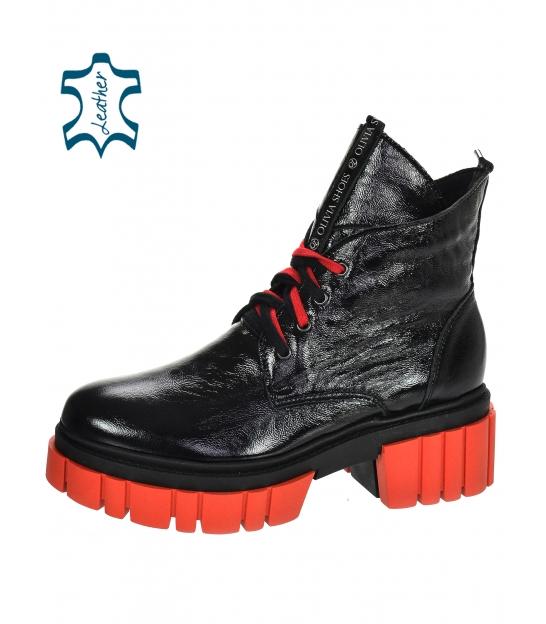 Čierno-červené lakované kožené workery DKO3023