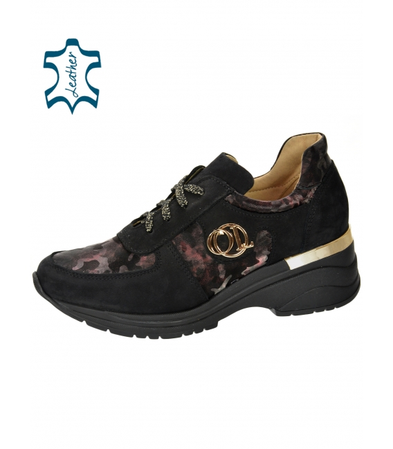 Black sneakers with burgundy camouflage pattern on the sole TAMIRA DTE3307