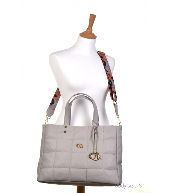 Large grey quilted handbag with a stylish color strap ANDREA