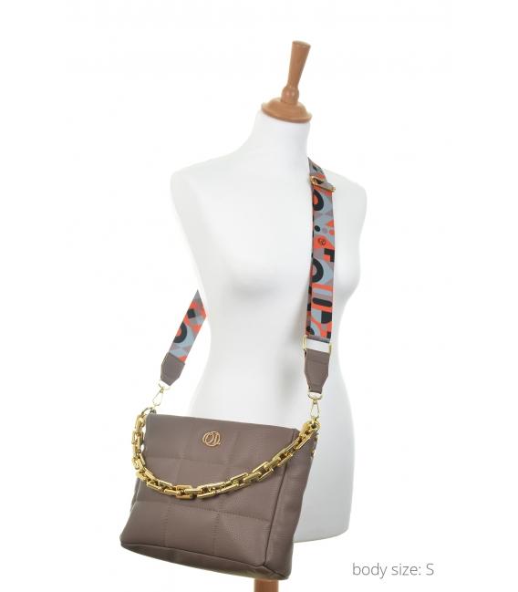 Hnedo-sivá prešívaná kabelka so štýlovým remienkom WANDA