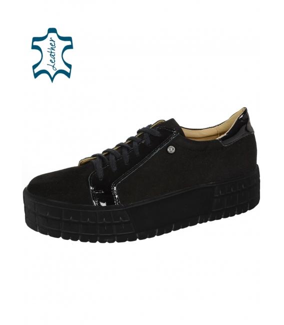 Čierne tenisky z brúsenej kože s lakovaným prvkom na čiernej podošve HANZA DTE089
