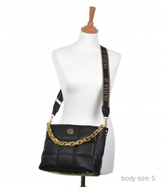 Čierna menšia prešívaná kabelka s retiazkou WANDA