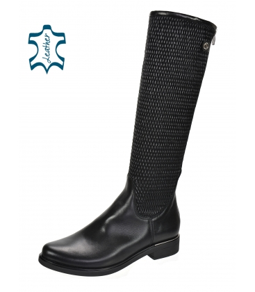 Čierne nízke čižmy s pleteným vzorom na sáre 886