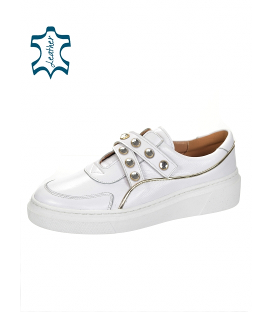 White stylish sneakers with buckles and gold decorative applications 7124