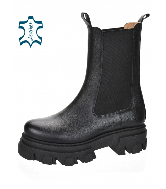 Čierne nízke čižmy s elastickým materiálom 8120