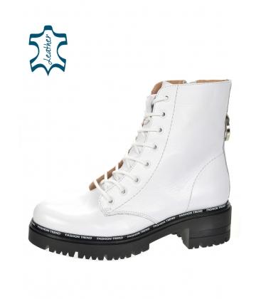 Biele koženné workery 8157