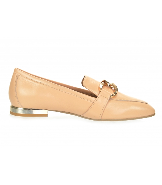 Beige elegant low leather shoes with gold decoration 5042