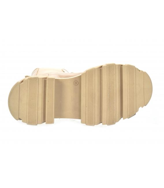 Béžové nízke čižmy s elastickým materiálom na vysokej podošve 8120