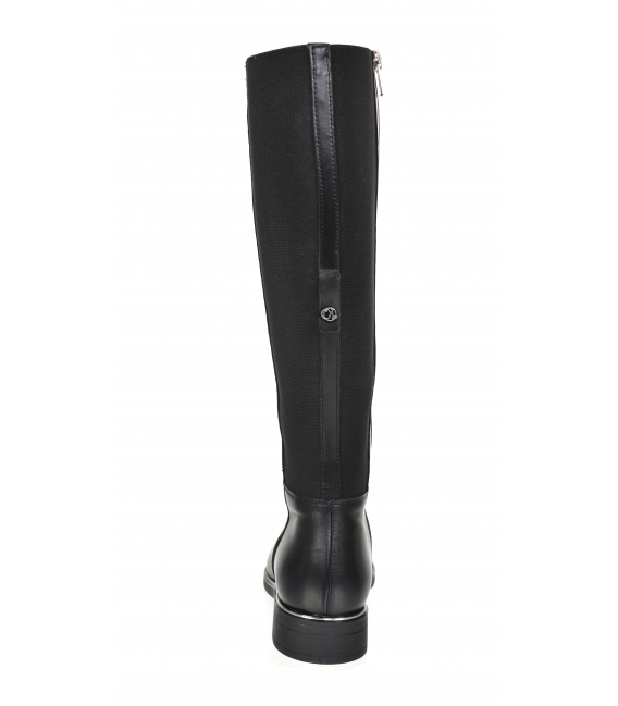 Black low simple leather boots with rubber 834