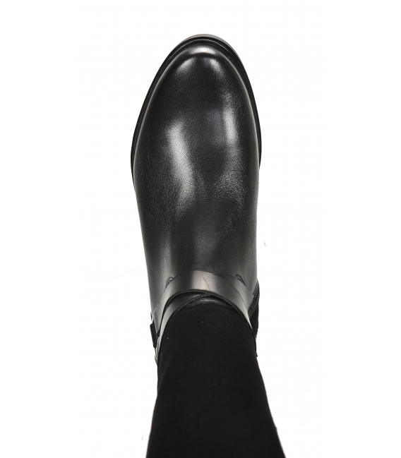 Black riding boots with strap 9012