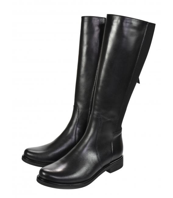 Čierne nízke jednoduché kožené čižmy s gumou 834