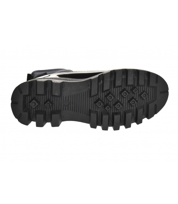 Čierne členkové lakované čižmy s elastickým materiálom s ozdobou ZENA DKO2284