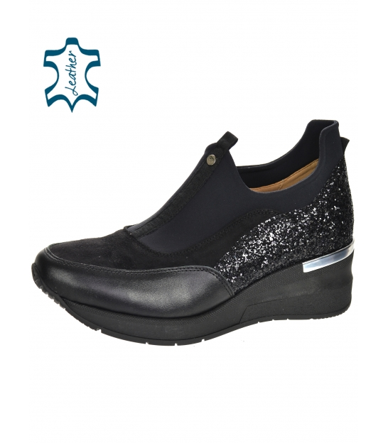 Black glittery shiny sneakers with elastic material B800