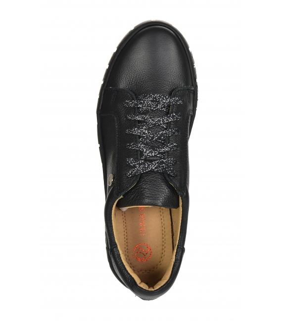 Čierne jednoduché tenisky na čiernej podošve HANZA DTE3402