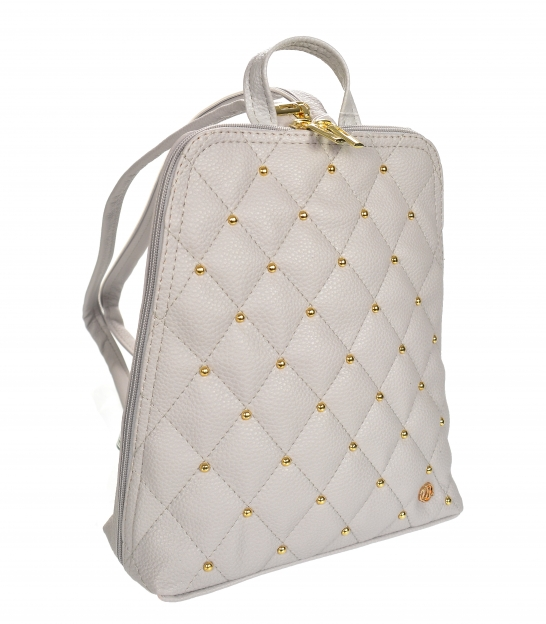 Grey backpack with gold TV applications