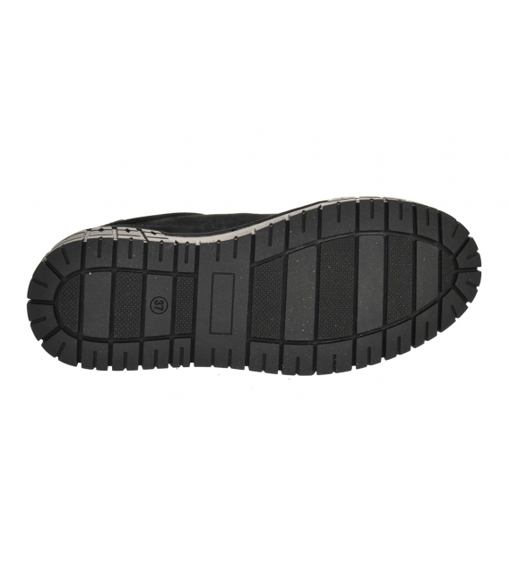 Black sanding leather sneakers with lacquered element on the black sole HANZA DTE089