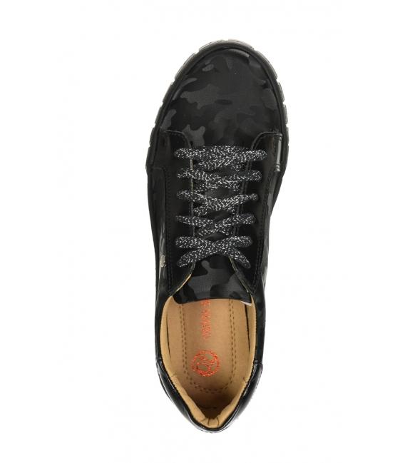 Čierne tenisky s maskáčovým vzorom na podošve Hanza DTE3097