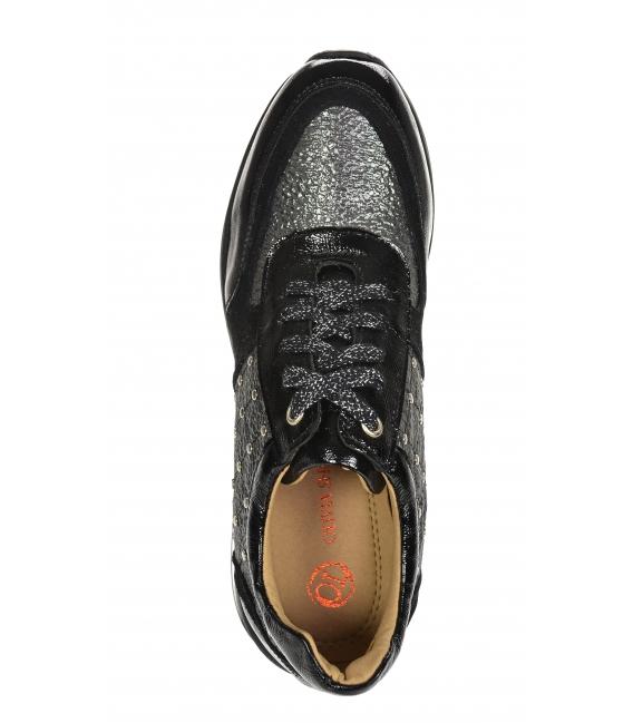 Čierno-sivé štýlové tenisky s ozdobnými aplikáciami na podošve Kamila DTE3304