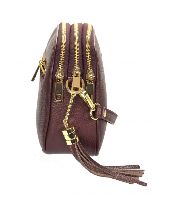 Discounted set of sneakers with burgundy camouflage pattern TAMIRA DTE3307 + Burgundy leather crossbody handbag GROSSO