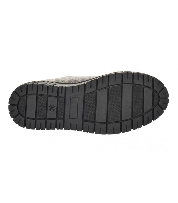 Čierne tenisky s jemným monogramom a lakovaným prvkom na čiernej podošve HANZA DTE3317
