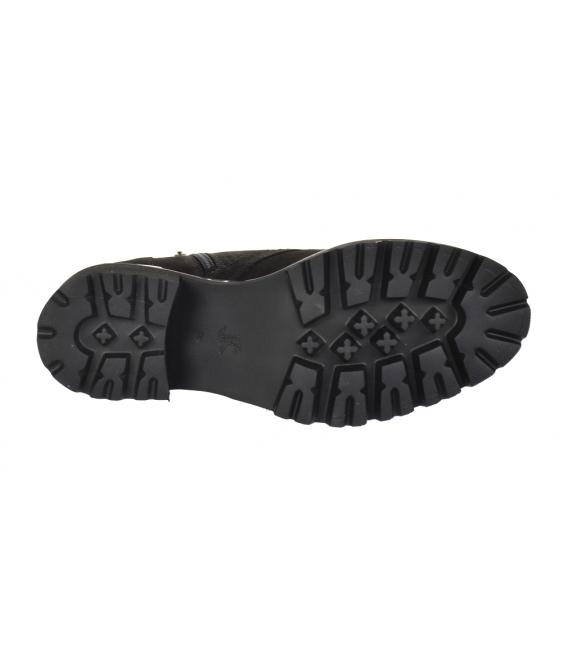 Čierne členkové čižmy z brúsnej kože na zdobenej podošve 2252