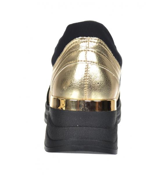 Zlato-čierne tenisky na čiernej podošve Tamira DTE3063