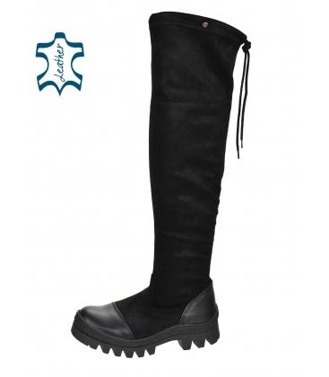 Čierne čižmy s koženou špičkou a sárou nad kolená DCI2182
