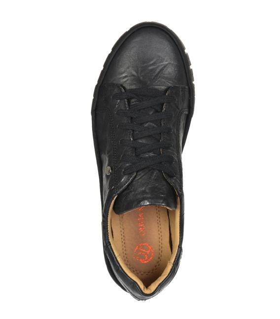 Čierne tenisky s pokrčeným vzľadom na čiernej vysokej podošve HANZA DTE3402