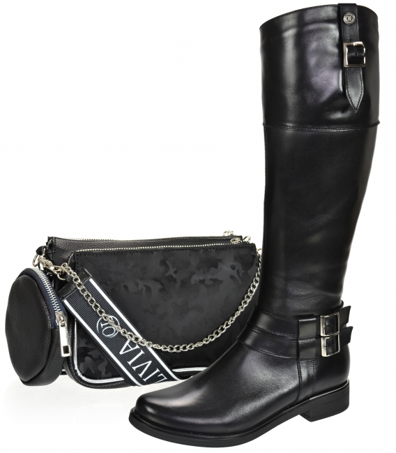 Discounted set of black boots with silver buckles 9011 + Black two-compartment crossbody handbag with camouflage pattern ANITA