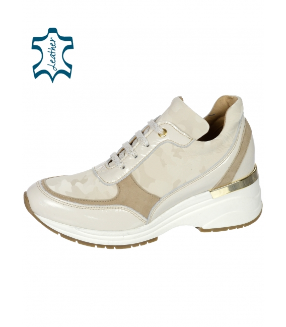 Beige-brown sneakers with a fine pattern on the sole TAMIRA DTE3307