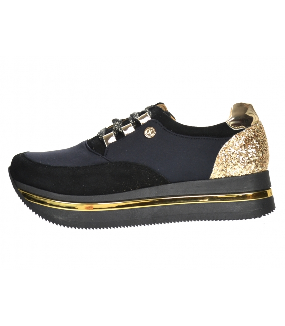 Čierno-zlaté tenisky so zlatým brokátom na čiernej podošve Karla DTE3041
