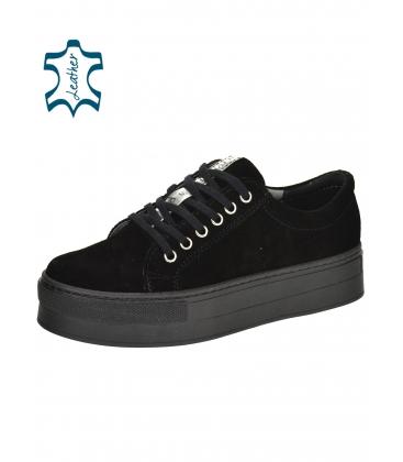 Čierne jednoduché tenisky z brúsenej kože 7116