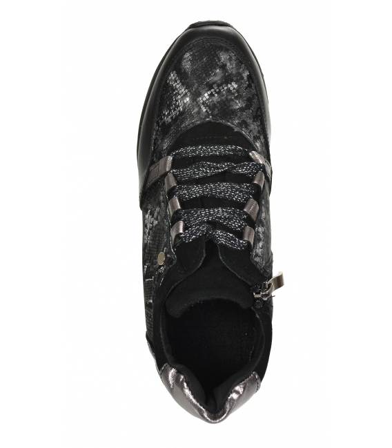 Zateplené čierne tenisky so sivým hadím vzorom DKO3018