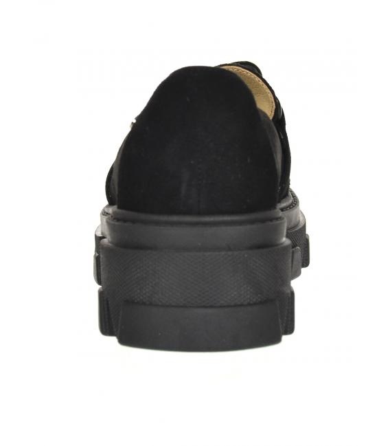 Čierne extravagantné poltopánky s retiazkou na čiernej podošveDBA2268