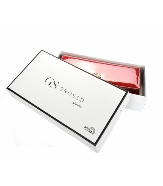 Dámska čierna lakovaná peňaženka so vzorom GROSSO
