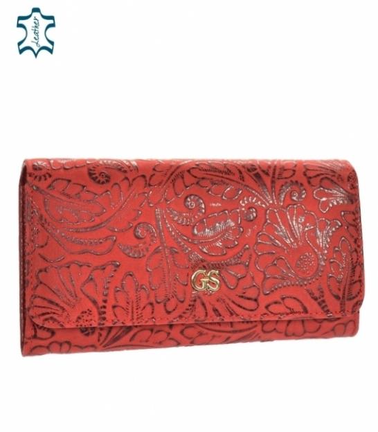 Dámska matná červená lakovaná peňaženka s lesklým kvetinovým vzorom GROSSO