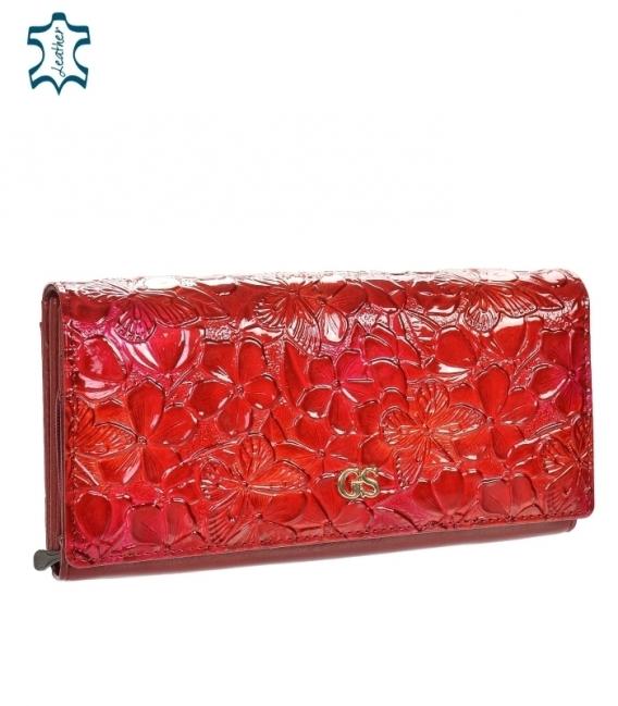 Dámska lakovaná červená peňaženka s lesklým kvetinovým vzorom GROSSO