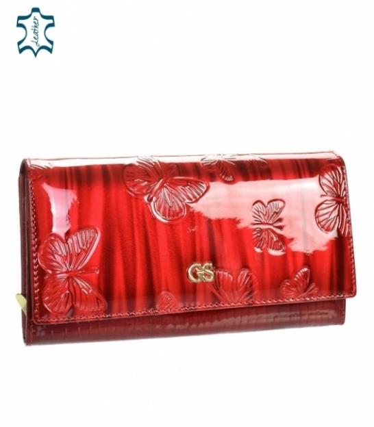 Dámska červená lakovaná peňaženka s motýlím motívom GROSSO