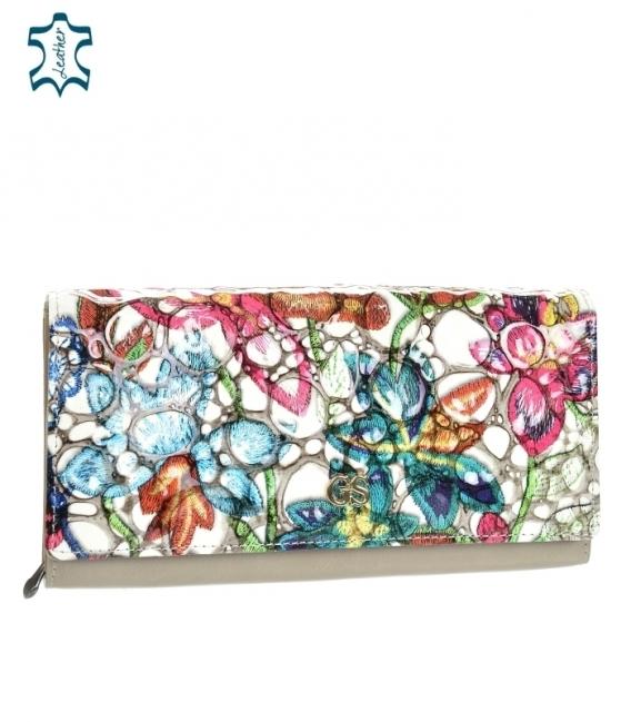 Dámska lakovaná farebná peňaženka s lesklým kvetinovým vzorom GROSSO