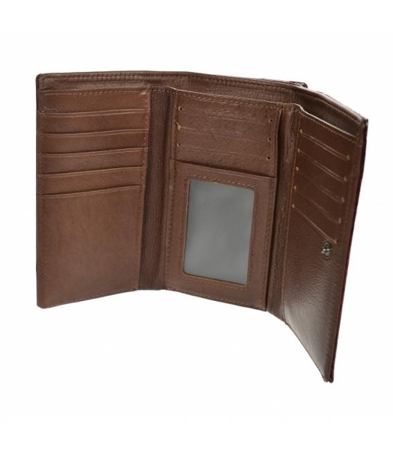 Dámska lakovaná bordovo hnedá peňaženka s čiernym kvetinovým vzorom GROSSO