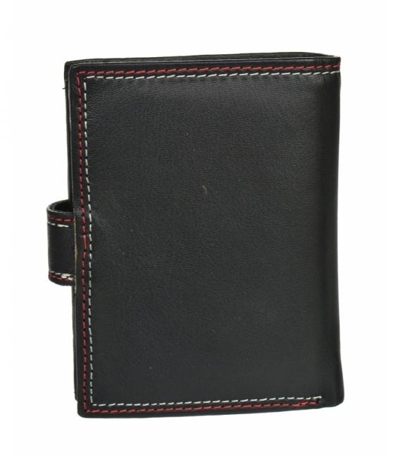 Pánska kožená čierna peňaženka s červeným prešívaním GROSSO GM-81B-123A