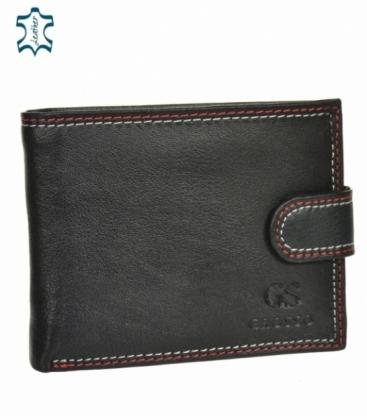Pánska kožená čierna peňaženka s červeným prešívaním GROSSO GM-81B-032
