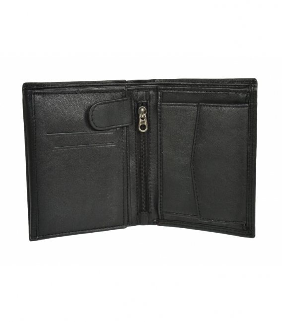 Pánska kožená čierna peňaženka s červeným prešívaním GROSSO GM-81B-123
