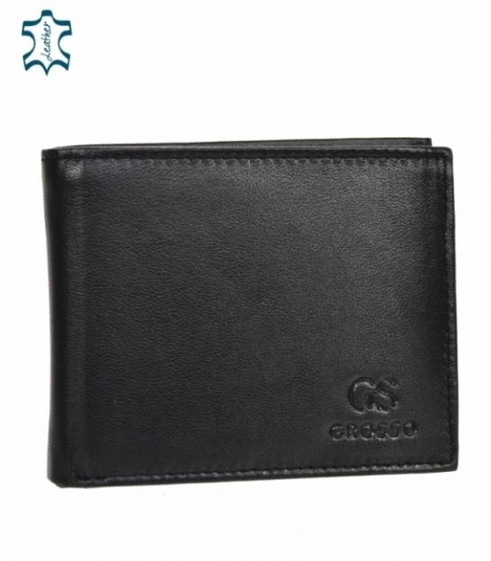 Pánska kožená čierna jednoduchá peňaženka GROSSO ZM-77-033
