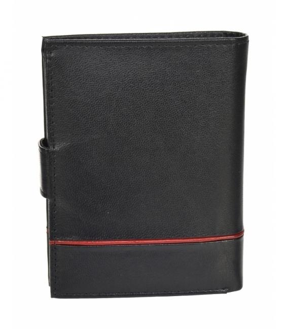 Pánska kožená čierna peňaženka s červeným pásikom GROSSO TM-100R-073black/red