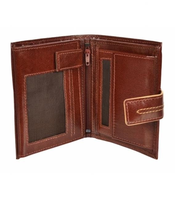 Pánska kožená koňaková peňaženka s prešívaním GROSSO TM-100R-250Acognac