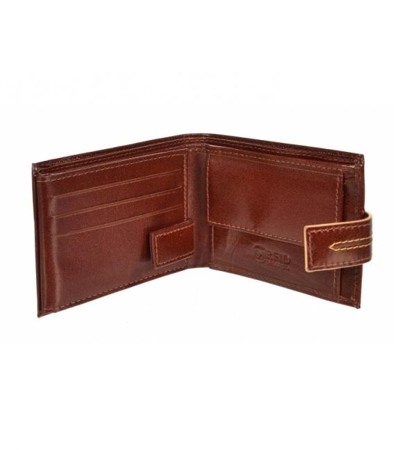Pánska kožená koňaková peňaženka s prešívaním GROSSO TM-100R-035cognac